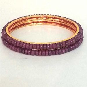 Surat Diamond Ruby Beads Bangles - Bgp14