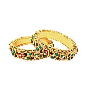 Surat Diamonds Bangles, Bracelets (Imititation) - Surat Diamond Traditional Rajasthani Polki Patlas BGP25