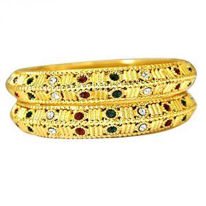 Surat Diamonds Bangles, Bracelets (Imititation) - Surat Diamond A Pair of Gold Plated Engraved Kada Bangles with Red, Green & White Stones BGP73