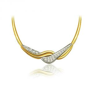 Surat Diamond Dazzling Elegance 0.32ct Two Tone Diamond Necklace Pendant With Chain Dn110