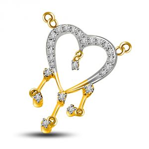 Surat Diamond Love Bridge Fancy Heart Shape 18kt Gold And Vs Diamond Pendant Dn179