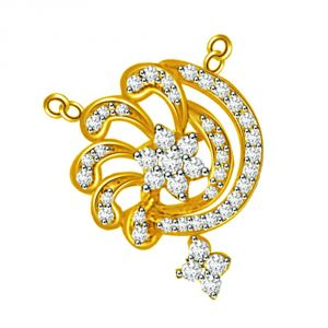 Surat Diamond Circular Playful Yellow Gold Diamond Pendant Dn183