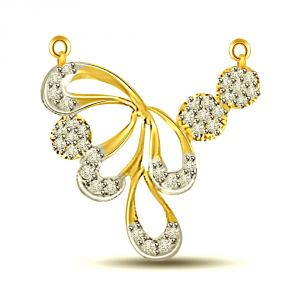 Surat Diamond Very Stylish Two Tone Diamond Necklace Pendant Dn411