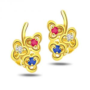 Precious Jewellery - Surat Diamond Triplet Flower Diamond Flower Shape Earring ER-142 ER142