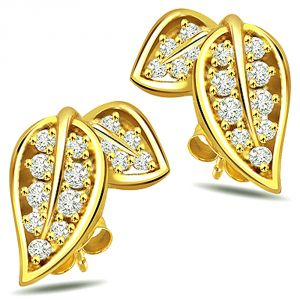 Surat Diamond Love Birds 0.52 Ct Diamond 2 Leaf Shaped Earring Er146