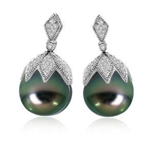 Surat Diamond 0.75ct Tahitian Pearl Earring Er170