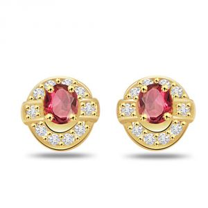 Surat Diamond 0.20ct Fine Diamond & Ruby Earring Er231