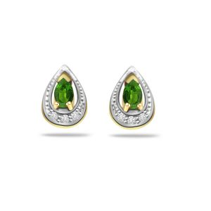 Surat Diamond 0.12ct Diamond & Emerald 18kt Gold Earring Er297