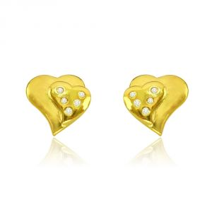 Surat Diamond 0.10 Cts Heart Shaped Real Gold Diamond Earrings Er383
