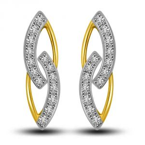 Surat Diamond In My Arms Two Tone Gold & Diamond Earrings For My Love Er422