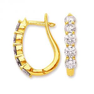 Surat Diamond Golden Cage Diamond Bali Elegant Earrings Er8