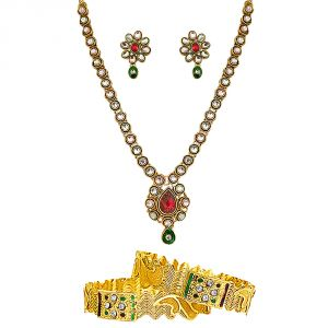 jagdamba,kalazone,jpearls,mahi,sukkhi,surat diamonds Imititation Jewellery Sets - Surat Diamond Traditional Set & Bangles Hamper Hamper-1500