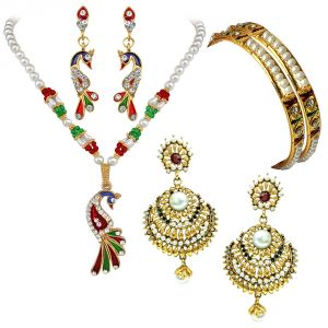 rcpc,kalazone,jpearls,surat diamonds,port,ag Imititation Jewellery Sets - Surat Diamond Beautiful Jewelllery Set Hamper Hamper-1501