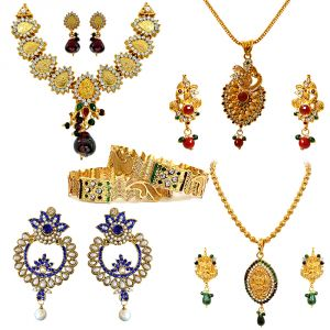 Avsar,Ag,Lime,Jagdamba,Sleeping Story,Surat Diamonds Women's Clothing - Surat Diamond Traditional Jewellery Set Hamper Hamper-1503