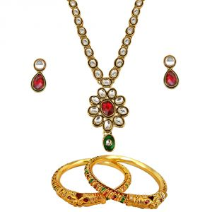 Surat Diamond Traditional Jewellery Set & Bangles Hamper 1508
