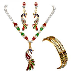 jagdamba,surat diamonds,valentine,jharjhar,asmi,tng Imititation Jewellery Sets - Surat Diamond Traditional Jewellery Set & Bangles Hamper 1509