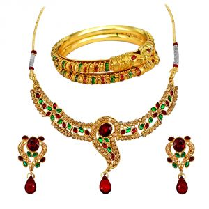 Kiara,Sukkhi,Jharjhar,Jpearls,Mahi,Flora,Surat Diamonds Women's Clothing - Surat Diamond Traditional Jewellery Set & Bangles Hamper 1510