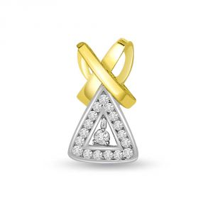 Triveni,My Pac,Clovia,Jharjhar,Surat Diamonds,Mahi Women's Clothing - Surat Diamond 0.25 cts Trendy Triangle Two Tone Diamond Pendant P700