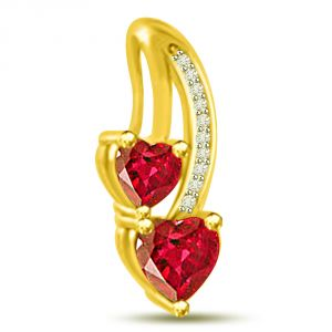 Surat Diamond Gorgeous Heart Shaped Red Ruby And Diamond Pendant P1084