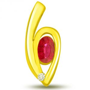 Surat Diamond Sun Magic Stunning Ruby And Diamond Pendant In Yellow Gold P1102