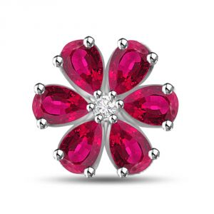 Surat Diamond 1.54 Tcw Flower Shaped Ruby Pendant In White Gold P1104