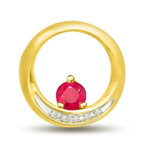 Surat Diamond 0.18 Tcw Red Ruby And Diamond Pendant In Yellow Gold P1114