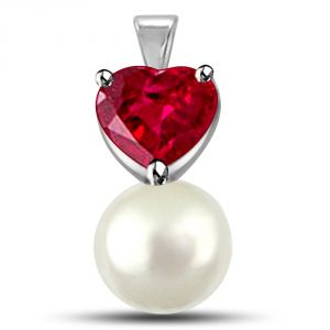 Surat Diamond 0.30tcw Heart Shaped Ruby Pendant With Freshwater Pearl P1123
