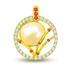 Surat Diamond Twinkling Royal Stone 0.43 Tcw Beautiful Pearl, Ruby And Diamond Pendant P1125