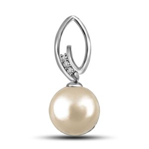 Surat Diamond Exotic Pearl And Diamond Pendant In 14kt White Gold P1132