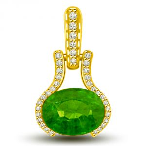 Triveni,Pick Pocket,Jpearls,Mahi,Sukkhi,Bagforever,Kaamastra,Estoss,Surat Diamonds Women's Clothing - Surat Diamond Ravishing Green 1.40 TCW Emerald And Diamond Pendant In Yellow Gold P1137