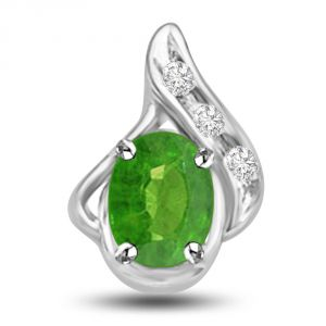 Surat Diamond Gorgeous Green Drop 1.05 Tcw Emerald And Diamond Pendant In White Gold P1146