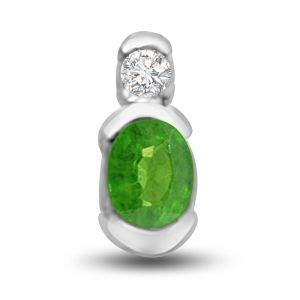 Surat Diamond Natural Beauty Delightful Emerald And Diamond Pendant In White Gold P1148