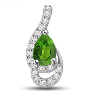 Surat Diamond Sparkling Peas 0.50 Tcw Emerald And Diamond Pendant In White Gold P1152