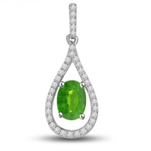 Surat Diamond Green Lotus 0.55 Tcw Emerald And Diamond Drop Shaped Pendant P1153