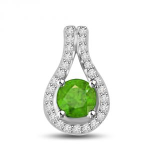 "Surat Diamond Angel""s Grapevine 0.80 Tcw Emerald And Diamond Pendant In White Gold P1160"