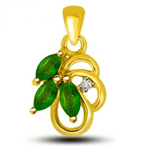 Surat Diamond Stunning Green Drops Emerald And Diamond Pendant In Yellow Gold P1162
