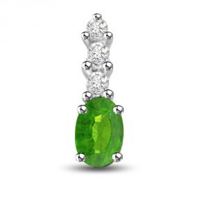 Surat Diamond Cocktail Of Stone Dazzling Emerald And Diamond Pendant In White Gold P1167