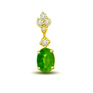 Jagdamba,Surat Diamonds,Valentine,Jharjhar,Asmi Women's Clothing - Surat Diamond Holding Glamour 0.26 TCW Emerald And Diamond Pendant In 18kt Gold P1168