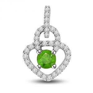 The Jewelbox,Jpearls,Port,Kalazone,Parineeta,Surat Diamonds,Diya Women's Clothing - Surat Diamond Springy Bride 0.55 TCW Diamond And Emerald Pendant In White Gold P1169