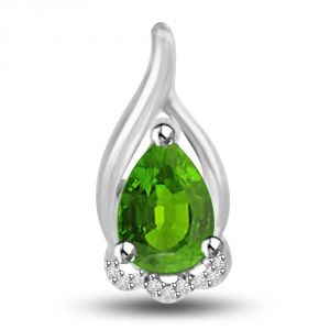 Triveni,Platinum,Jagdamba,Pick Pocket,Surat Diamonds,La Intimo,Kalazone,Gili Women's Clothing - Surat Diamond Queen of Emerald 1.09 TCW Emerald And Diamond Pendant In 14kt Gold P1170