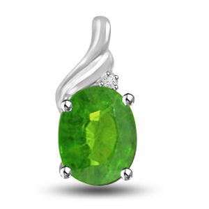 Surat Diamond Unlimited Greenery Emerald And Diamond Pendant In 14kt White Gold P1171