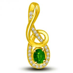 Surat Diamond Twinkling Dew Drops 0.40 Tcw Emerald And Diamond Pendant In Yellow Gold P1174