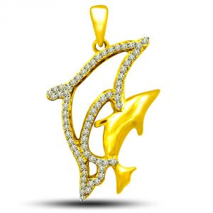 Triveni,My Pac,Sangini,Kiara,Surat Diamonds,Valentine Women's Clothing - Surat Diamond Charming Dolphin Pendant P1217