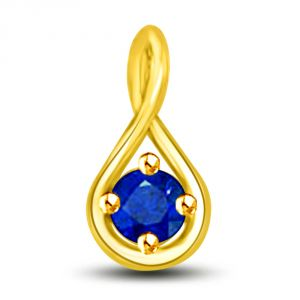 Rich Blue Natural Sapphire & Yellow Gold Pendant P1265