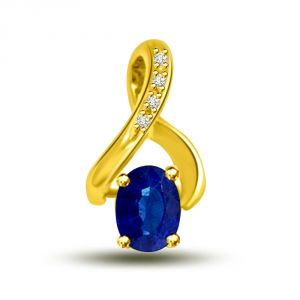 Blue Real Sapphire & Diamond 18kt Yellow Gold Pendant For Her P1292