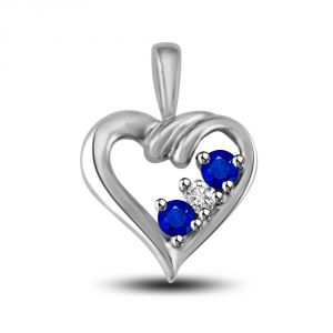 2 Sapphire With Center White Diamond 14kt Gold Heart Pendant P1318
