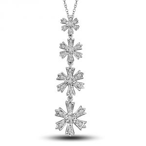 Surat Diamond Hanging Stars 0.50ct 4 Diamond Flower Hanging Long Pendant For Your Lady Love P1323