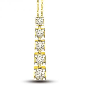 "Surat Diamond Diamond Lover""s 5 Diamond Solitaires In Row One On Top Of Other 18kt Gold Diamond Pendant P1324"