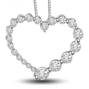 Surat Diamond Internal Happiness 0.50ct Diamonds In A Heart 14kt White Gold Beautiful Pendant For Your Love P1325