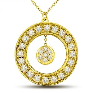 Surat Diamond Golden World 0.67ct Diamond Flower In Round Diamond Wheel 18kt Yellow Gold Pendant For Her P1326